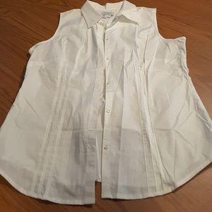 Ann Taylor LOFT white sleeveless blouse stretch